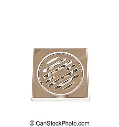 Stainless steel floor drain isolated on white background