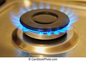 Stainless steel gas burner turned on with blue gas flame.