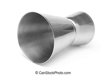 Stainless steel jigger on white background