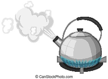 Stainless steel kettle with boiling water on stove cartoon style isolated on white background