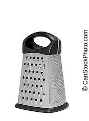 Stainless steel metal food grater.