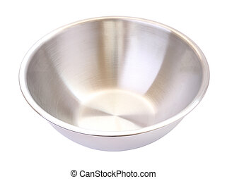 Stainless steel mixing bowl on white background.