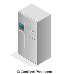 Stainless steel modern refrigerator isolated on white. The external LED display, with blue glow. Fridge freezer. Flat 3d vector illustration