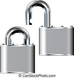 Stainless steel padlock vector