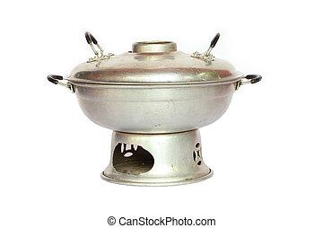 Stainless steel pot. on white backg