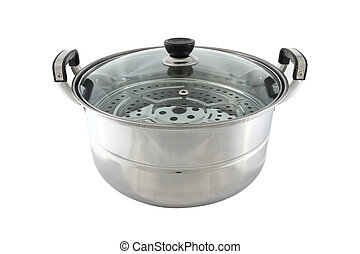 Stainless steel pot with glass cover on white background.