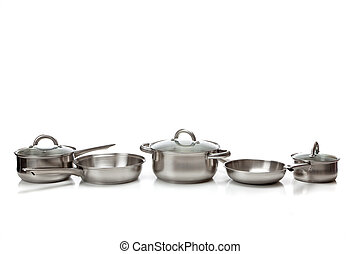 Stainless steel pots and pans - A set of stainless steel...
