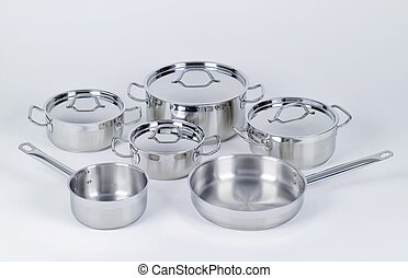 Stainless steel pots and pans - Set of stainless steel pots ...