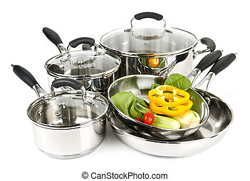 Stainless steel pots and pans with vegetables - Stainless ...