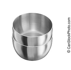 Stainless steel pots isolated on white background