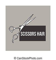 Stainless steel professional hairdresser scissors, sketch style vector illustration