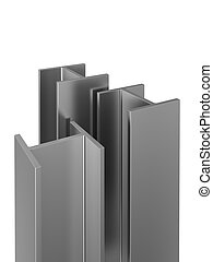 stainless steel profiles on a white background. 3d ...