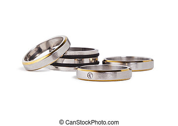 Stainless steel rings with silver and gold inlay