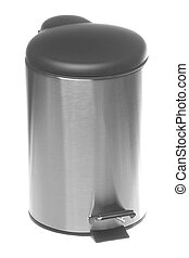Stainless Steel Rubbish Bin Isolated - Isolated image of a...