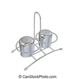 Stainless steel salt and pepper shakers with rack, 3D illustration, isolated against a white background