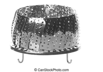 Isolated image of a stainless steel steamer basket.