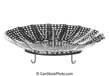 Stainless Steel Steamer Basket Isolated - Isolated image of...