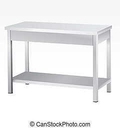 Stainless steel tables for culinary and commercial premises. Vector illustration.