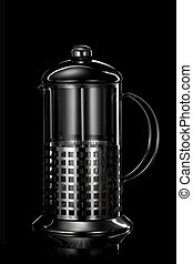 stainless steel teapot isolated on black