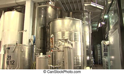 Stainless steel wine filter system at a large scale winery in Italy
