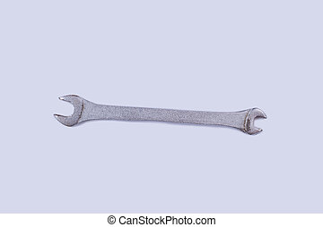 Stainless steel wrench isolated on white background.