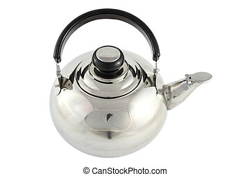 Stainless tea pot on white background.
