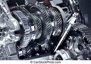 Stainless Car Transmission Elements - Car Transmission Closeup.