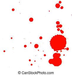 Stains of a red paint. On a white background.