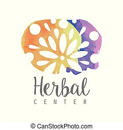 Stains of paint with floral ornament. Colorful watercolor design for nutritionist logo or herbal spa emblem. Concept of alternative medicine. Hand drawn vector illustration