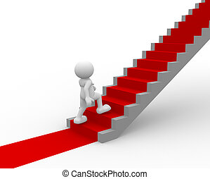 Stair - 3d people - human character climb a stair with red...