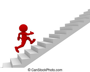 Stair - 3d people - human character climb the staircase -...