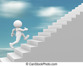 3d people - human character climb the staircase - stair. 3d render illustration