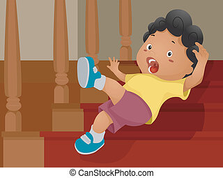 Stair Accident - Illustration of a Boy Slipping Down a...