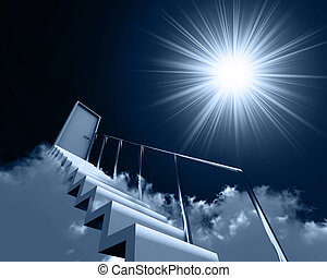 stair and door in clouds on a background sky and sun