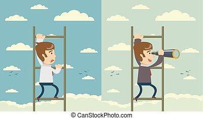 stair., business, concept., illustration, vecteur, homme affaires