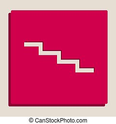 Stair down sign. Vector. Grayscale version of Popart-style icon.