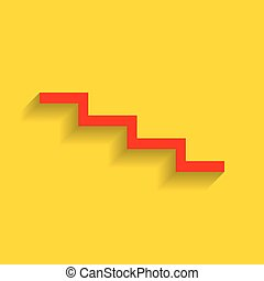 Stair down sign. Vector. Red icon with soft shadow on golden background.