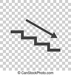 Stair down with arrow. Dark gray icon on transparent...