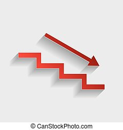 Stair down with arrow. Red paper style icon with shadow on ...