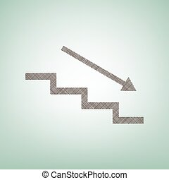 Stair down with arrow. Vector. Brown flax icon on green background with light spot at the center.