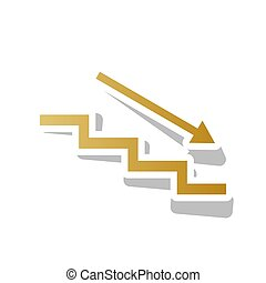 Stair down with arrow. Vector. Golden gradient icon with...
