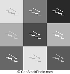 Stair down with arrow. Vector. Grayscale version of Popart-style icon.