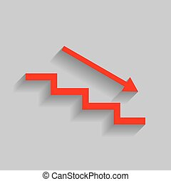 Stair down with arrow. Vector. Red icon with soft shadow on gray background.