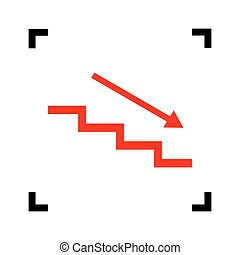 Stair down with arrow. Vector. Red icon inside black focus corners on white background. Isolated.