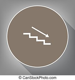 Stair down with arrow. Vector. White icon on brown circle with white contour and long shadow at gray background. Like top view on postament.