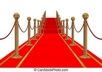 stair., image., ścieżka, 3d, czerwony dywan