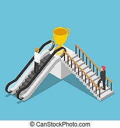 stair., isometrico, scala mobile, successo, uso, differente, modo, uomo affari