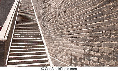 Long stair of the city wall in Xian, China.