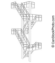Stair on white background. Vector rendering of 3d. Wire-...