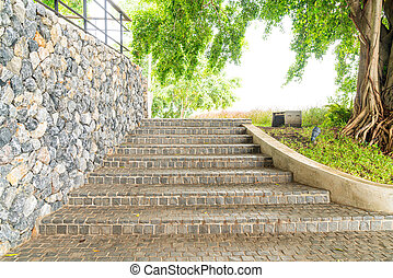stair step with rock tile